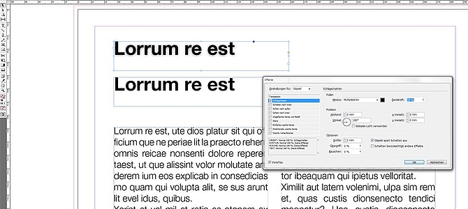 Adobe InDesigns Basics - Effekte kopieren